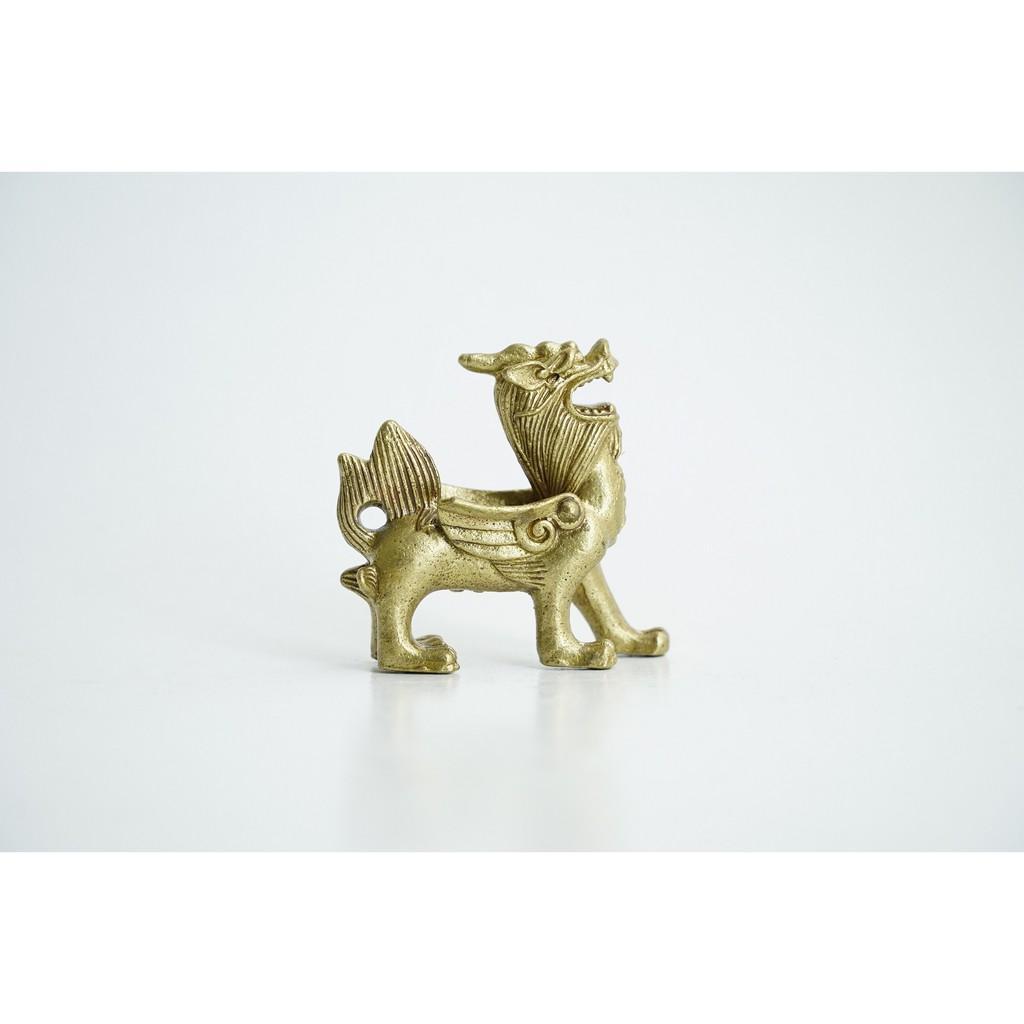 Tượng Tỳ Hưu bằng đồng có cánh chiêu tài 5cm