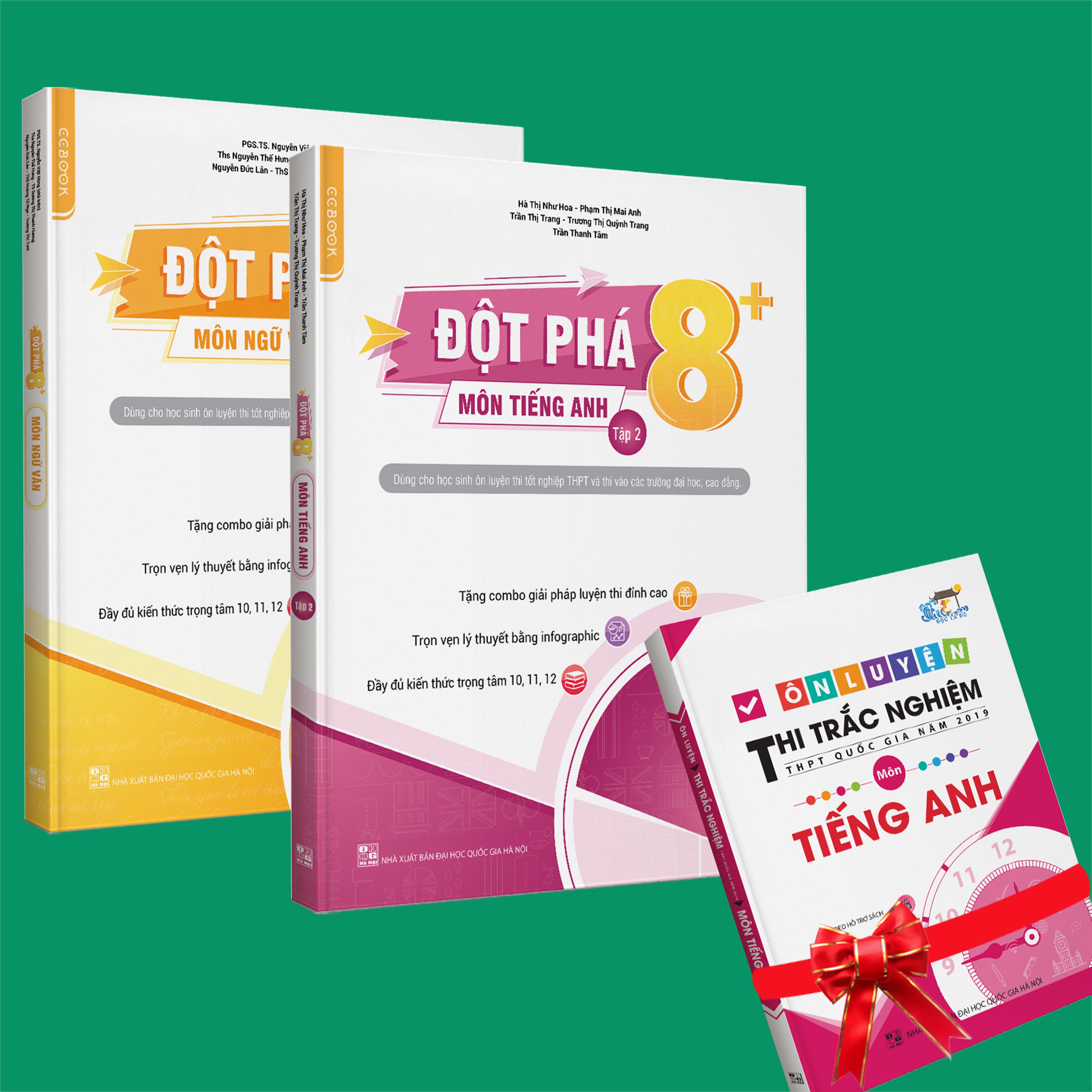 Sách - Combo Đột phá 8+(Phiên bản 2020) môn Tiếng anh tập 2 và Ngữ Văn (tặng ngay 1 cuốn Ôn luyện thi trắc nghiệm THPTQG môn Tiếng anh)
