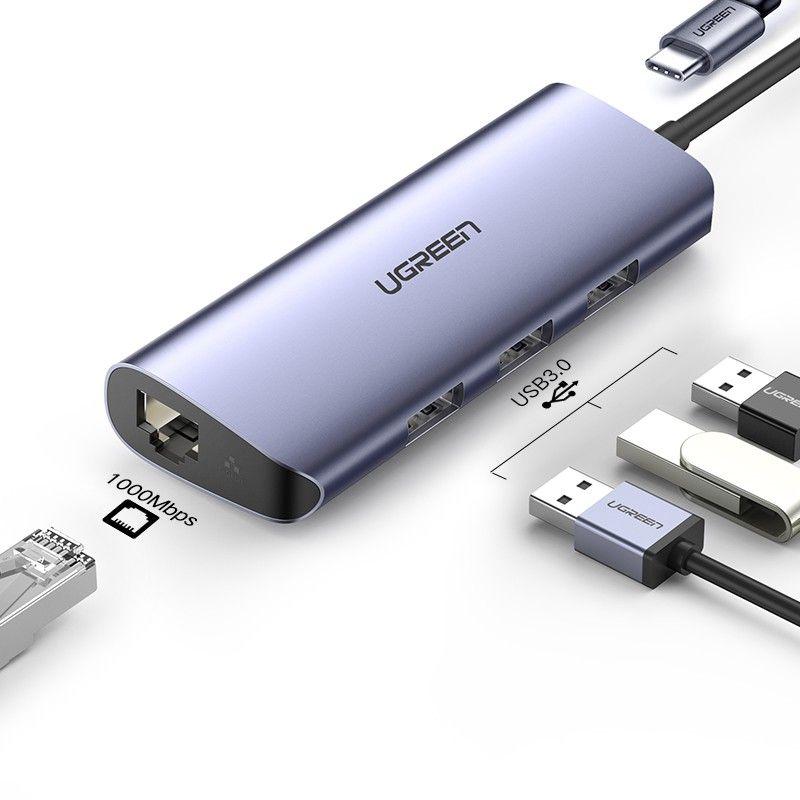 bộ chuyển cổng Type C Ugreen 252LA60717CM 5 trong 1 màu xám 4K HDMI + Gigabit LAN + 3 x USB 3.0 chuẩn A + PD 60W hàng chính hãng