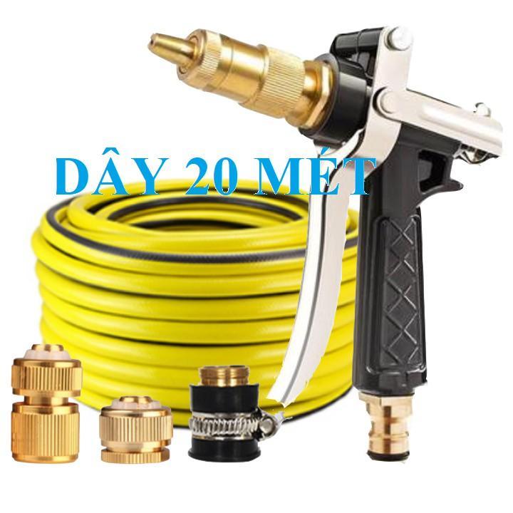 Bộ dây vòi xịt nước rửa xe, tưới cây . tăng áp 3 lần, loại 20m 206236 đầu đồng, cút đồng