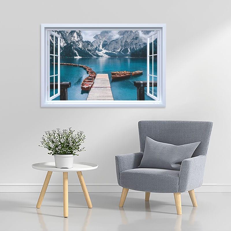 Decal cửa sổ Cầu gỗ Châu Âu WD125 | Decal dán tường PVC cao cấp