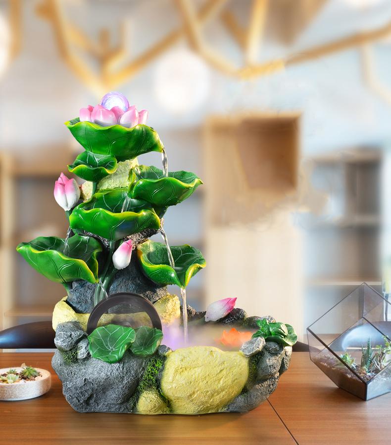 Thác Nước Phong Thủy Nụ Sen Hồng Ngọc Châu