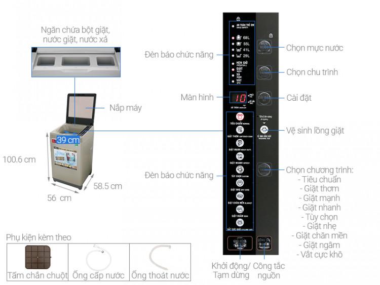 Thông số kỹ thuật Máy giặt Aqua 9 Kg AQW-U91CT N