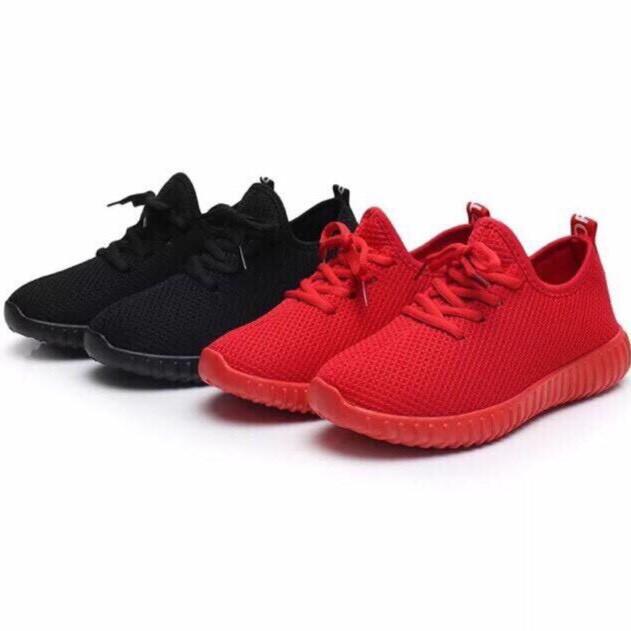 Giày thể thao nữ da cá thoáng khí đế mềm tròn màu đỏ đen