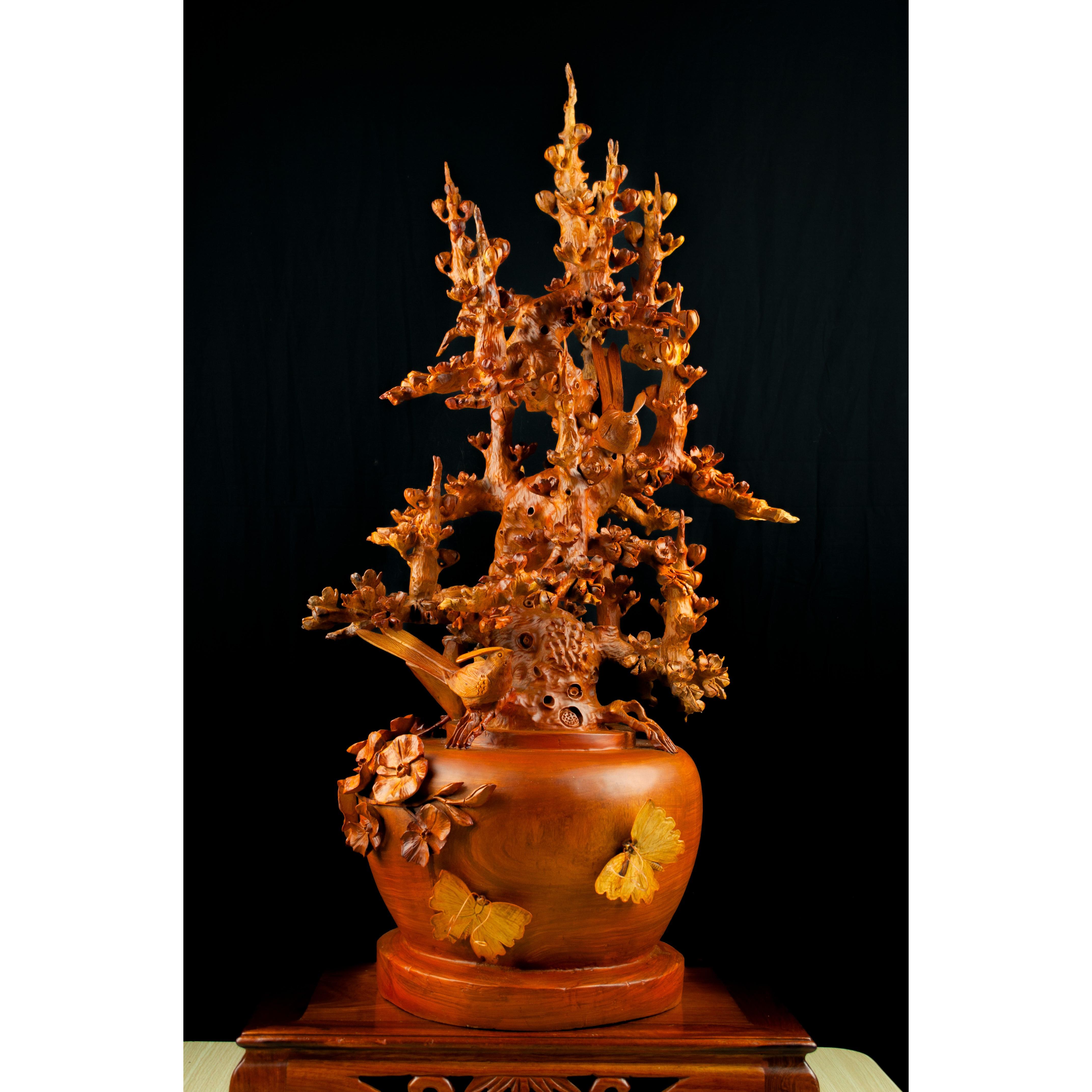 Tượng gỗ mỹ nghệ - Bình Mai Hỉ Thước Gỗ Hương Gia Lai