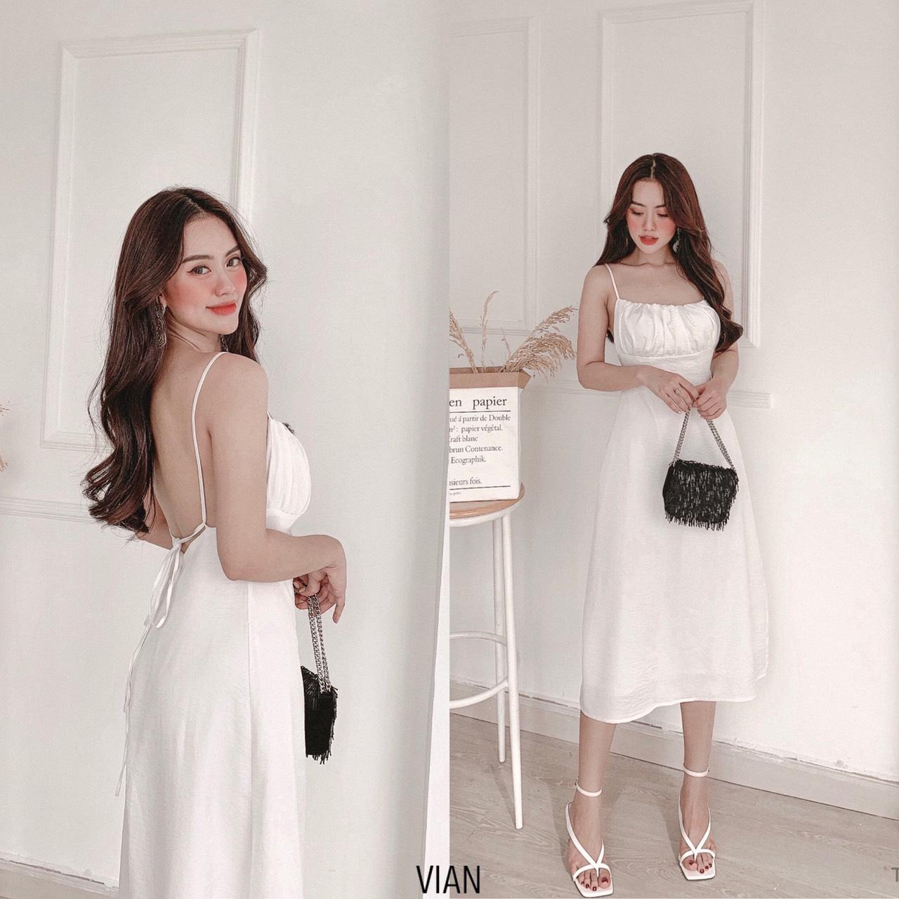 Đầm maxi 2 dây thiết kế Vian dress - váy maxi đan dây lưng - đầm dự tiệc