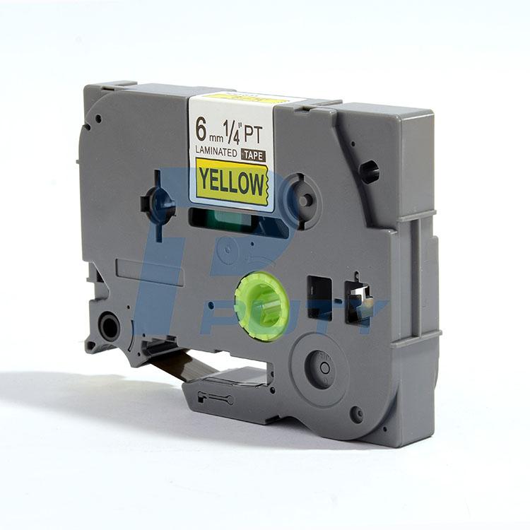 Nhãn in PZe-611 tiêu chuẩn_Khổ 6mm x 8m _Chữ đen nền vàng/Tương thích dùng cho máy in nhãn  P_Touch Brother