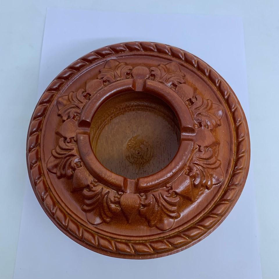 Gạt tàn nguyên khối bằng gỗ Hương tiện tròn cao cấp ,dày 5cm