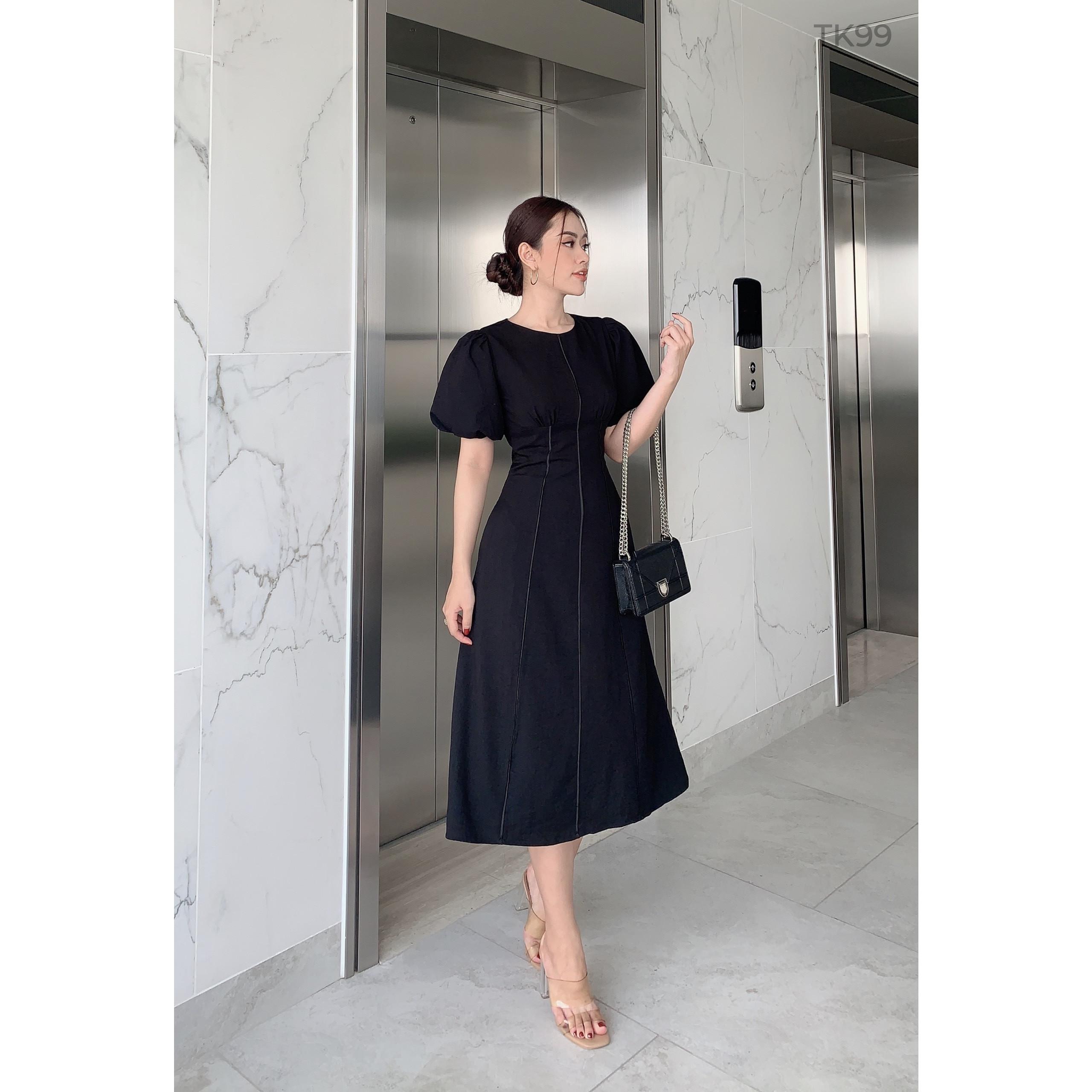Váy maxi thiết kế - Đầm maxi tay phồng vintage Brenna dress - Đầm dự tiệc thiết kế