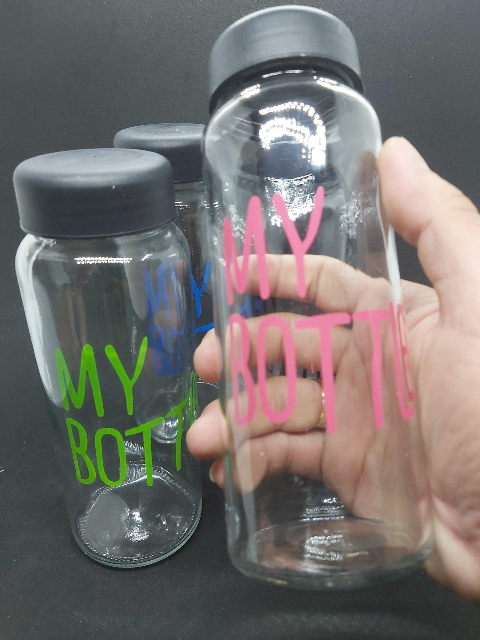 Combo 8 Chai Thủy Tinh đựng nước MY BOTTLE 500ML - Nắp nhựa đen (Bình thủy tinh đựng nước, đựng sữa - Chai đựng nước ép)