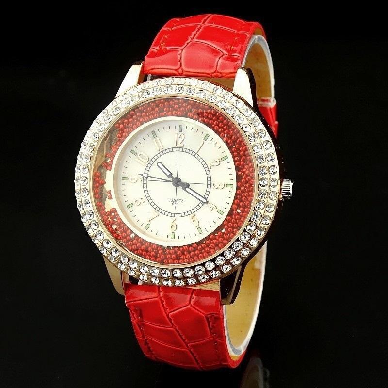 Đồng hồ nữ dây da mặt hợp kim sang trọng, quý phái