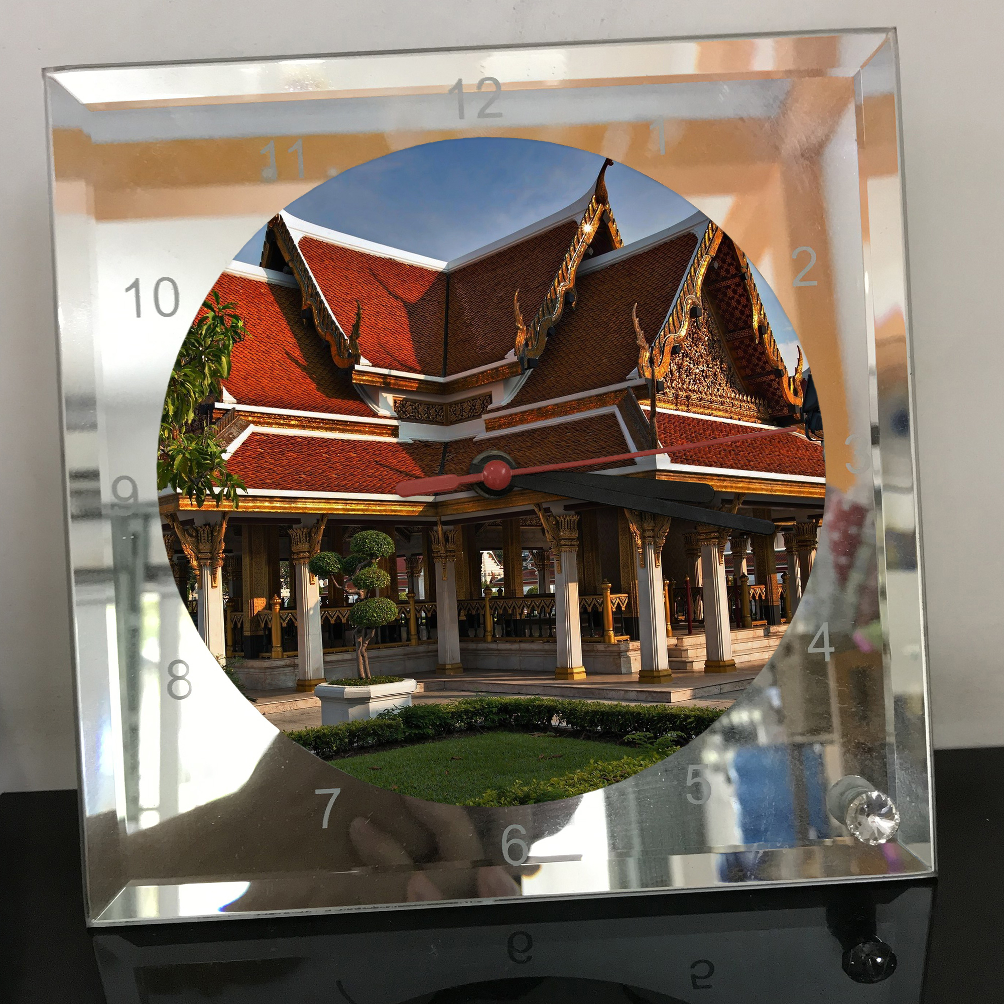 Đồng hồ thủy tinh vuông 20x20 in hình Temple - đền thờ (39) . Đồng hồ thủy tinh để bàn trang trí đẹp chủ đề tôn giáo