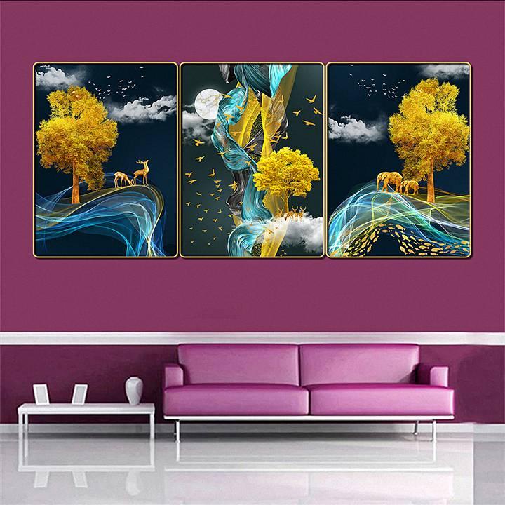 Bộ tranh treo tường 3 tấm trang trí phòng khách, phòng ngủ phong cách mỹ thuật hiện đại chất liệu cán pvc gương:4399L15S