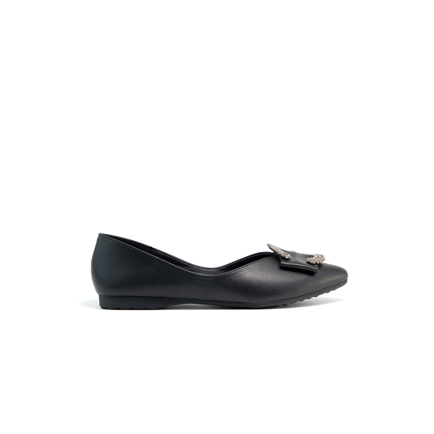Giày búp bê nữ da phối khóa vuông siêu đẹp PABNO PN16003