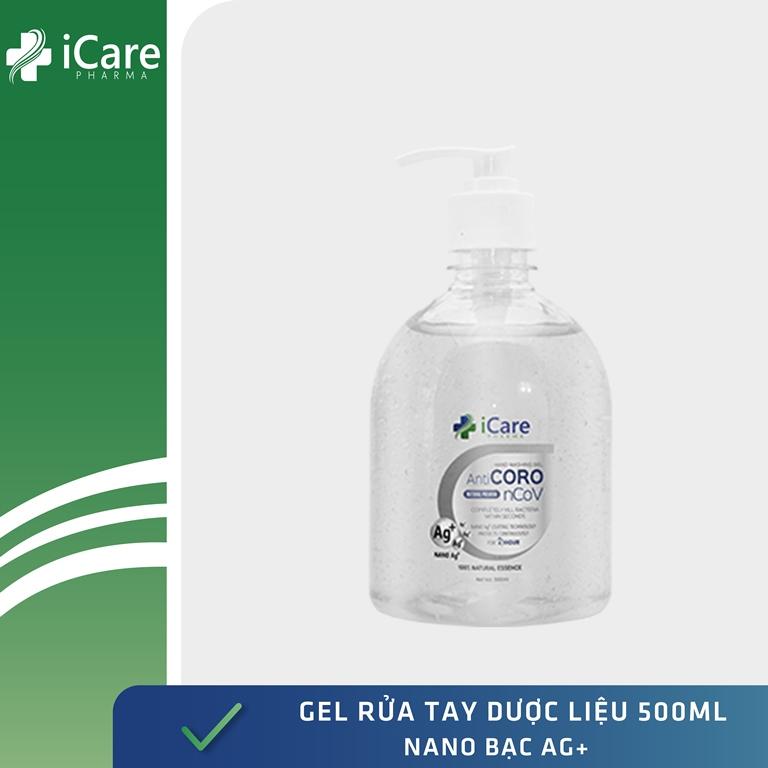 Gel rửa tay dược liệu AntiCoro - Thương hiệu iCare Pharma - Nano Bạc- Chai 500ml