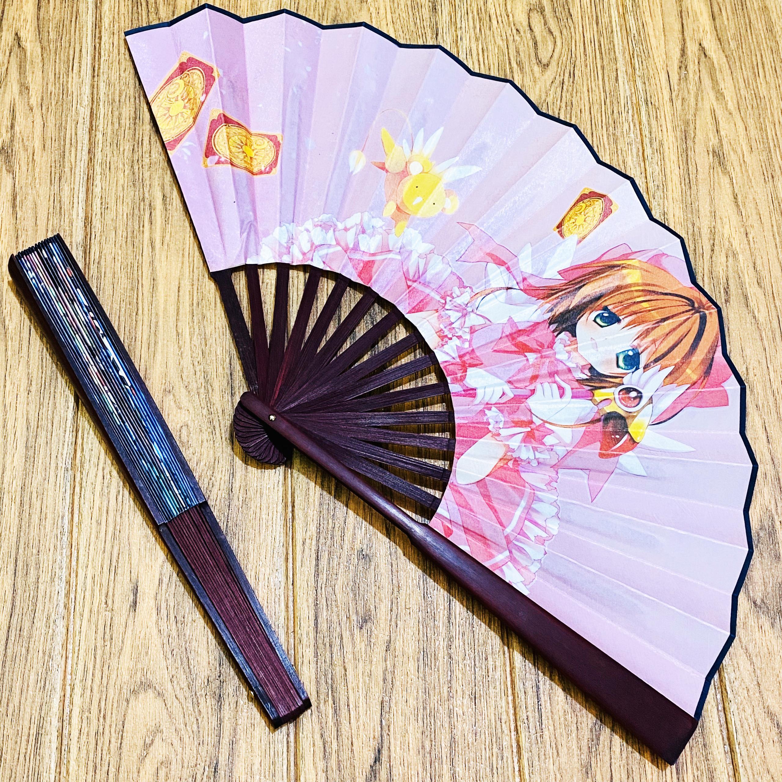 Quạt xếp anime Cardcaptor Sakura Thủ lĩnh thẻ bài nan 31cm in ảnh 2 mặt tặng ảnh Vcone