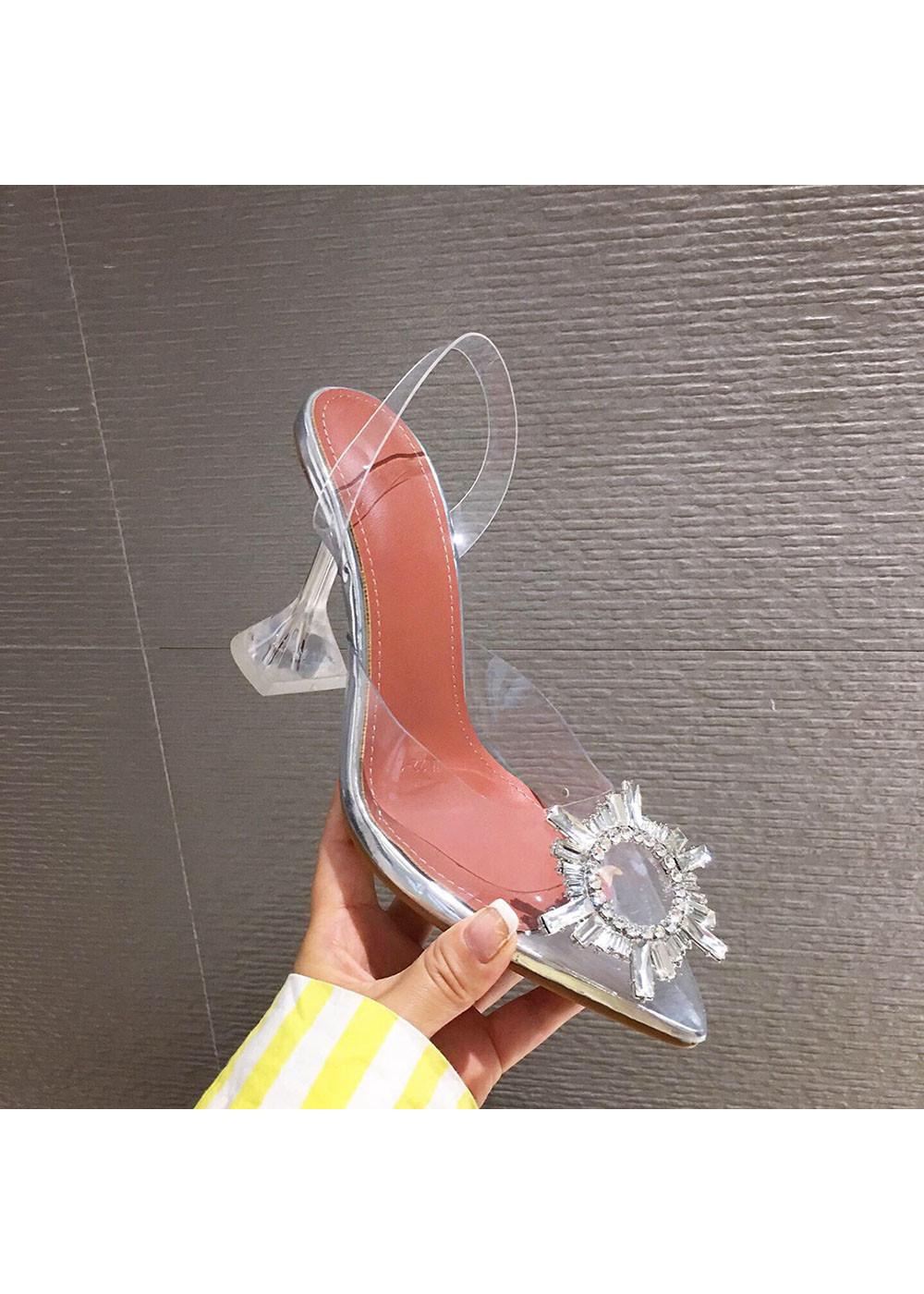 Giày Sandal Nữ Cao Gót Hoa Mặt Trời Trong Suốt Gót 5p Êm Chân kèm Tất/Vớ Da Chân - Giày cao gót nữ quai trong hoa đá- mũi nhọn sang chảnh