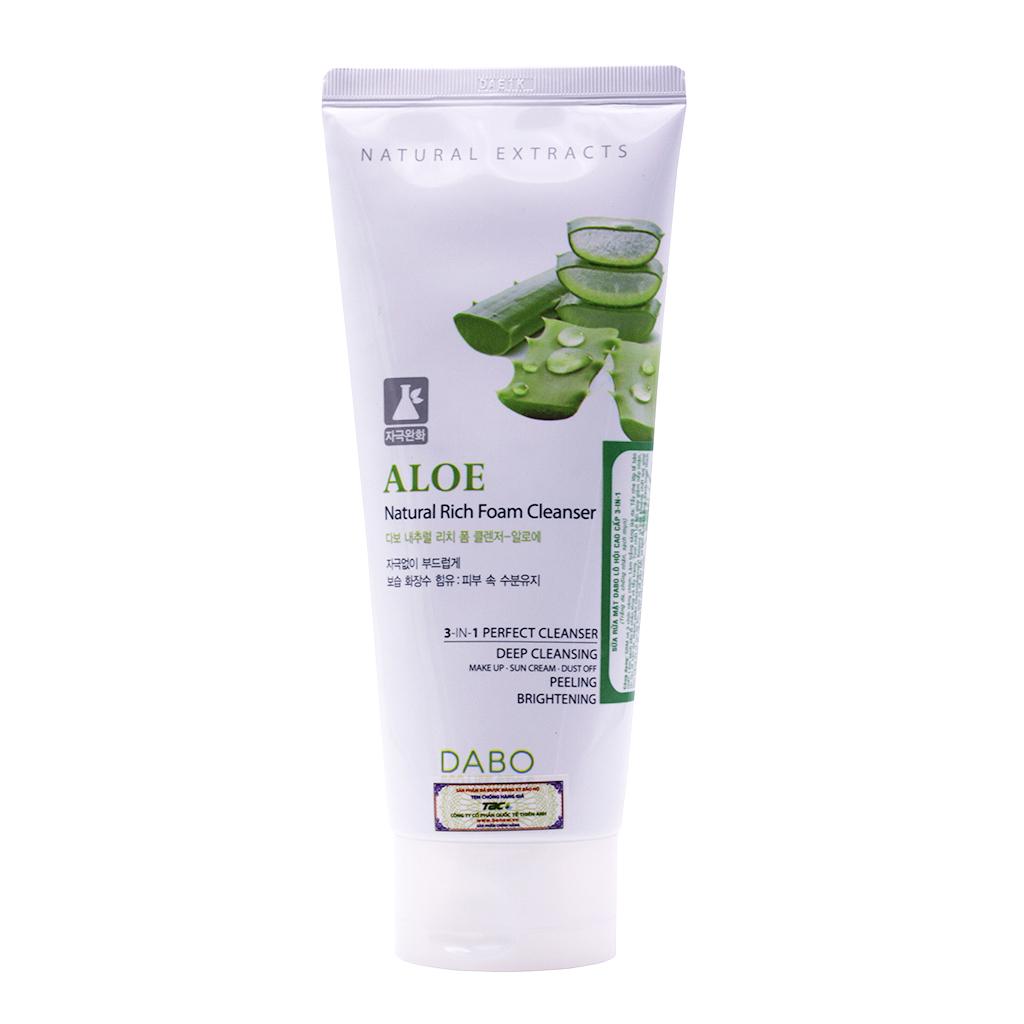 Sữa rửa mặt Hàn Quốc Dabo Aloe Natural Rich Foam Cleanser (180ml)