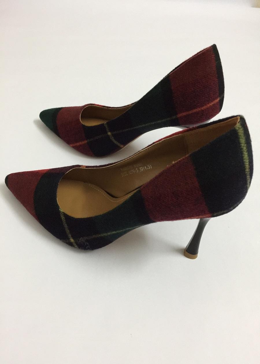 Giày Cao Gót Dạ Kẻ Cao Cấp Quảng Châu - Adweina - Kẻ xanh - đỏ - 240