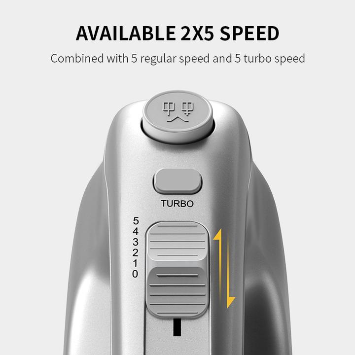 Máy đánh trứng và làm bánh cầm tay cao cấp nhãn hiệu Shardor HM315S công suất 350W tích hợp 5 mức độ đánh - Hàng Nhập Khẩu