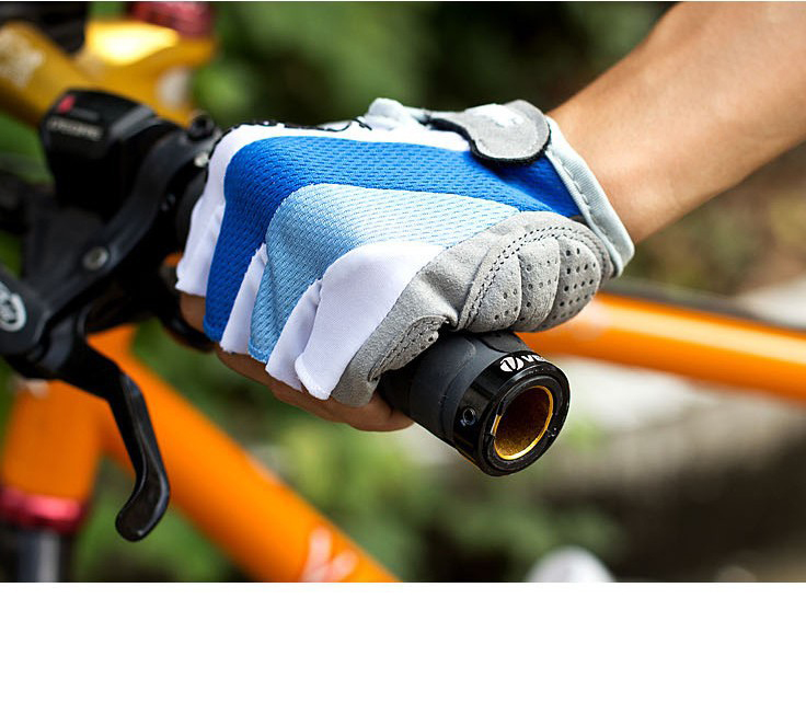 Găng tay xe máy, xe đạp có đệm bảo vệ tay Xanh Trắng