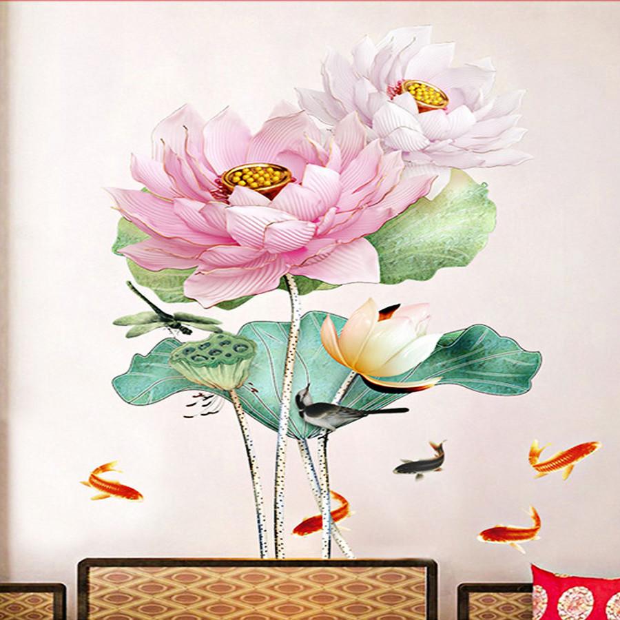decal dán tường sen hồng bông to gs9500