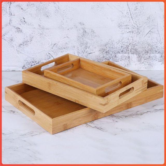 Khay gỗ chữ nhật tay cầm chắc chắn 25*32cm