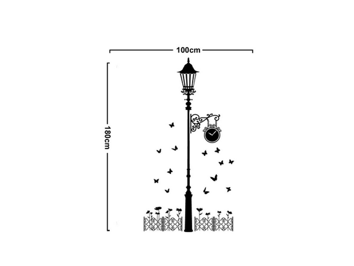 decal dán tường cột đèn và đồng hồ đen ay9200
