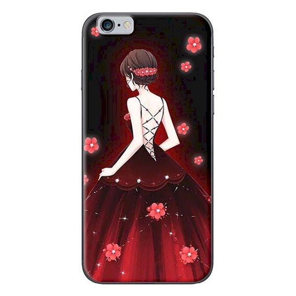Ốp Lưng Dành Cho iPhone 6 Plus  6S Plus - Mẫu Cô Gái Váy Đỏ Hoa Hồng