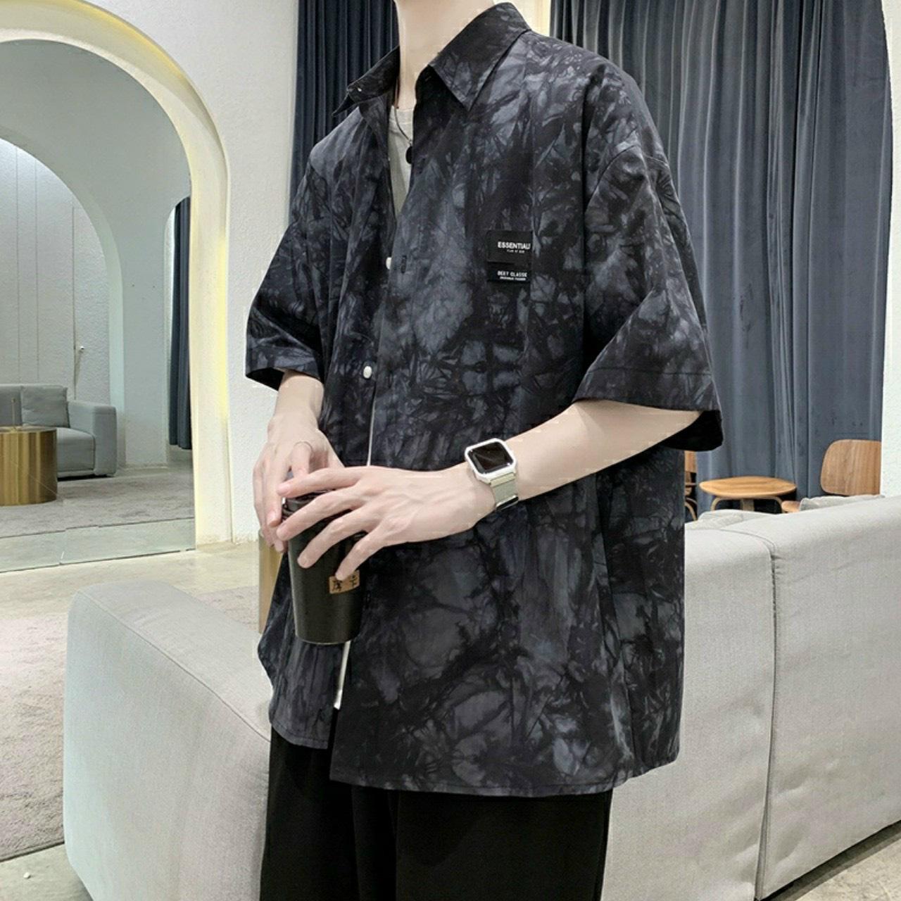 Áo Sơ Mi Nam form rộng họa tiết loang màu chất vải mềm mịn thoải mái kèm video mô tả