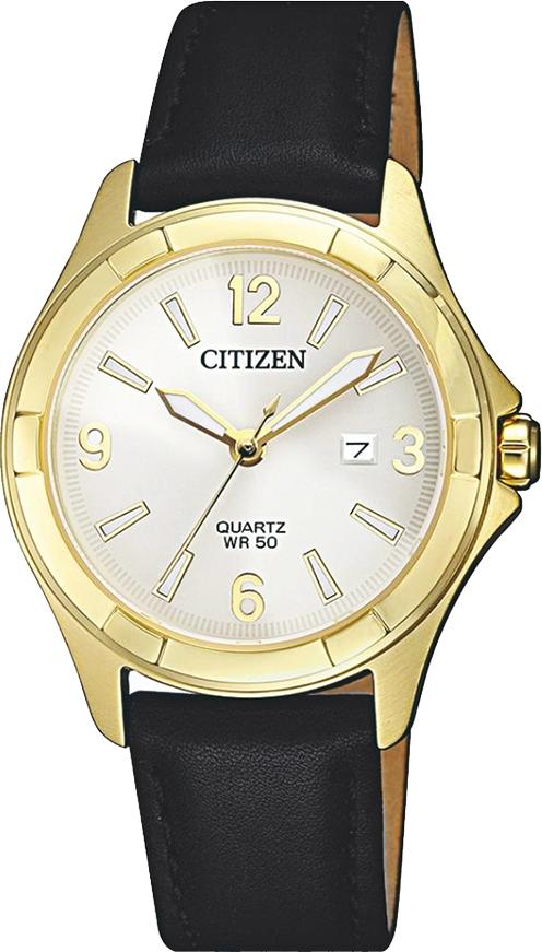 Đồng Hồ Citizen Nữ Dây Da Pin-Quartz EU6082-01A - Mặt Đen (32mm)