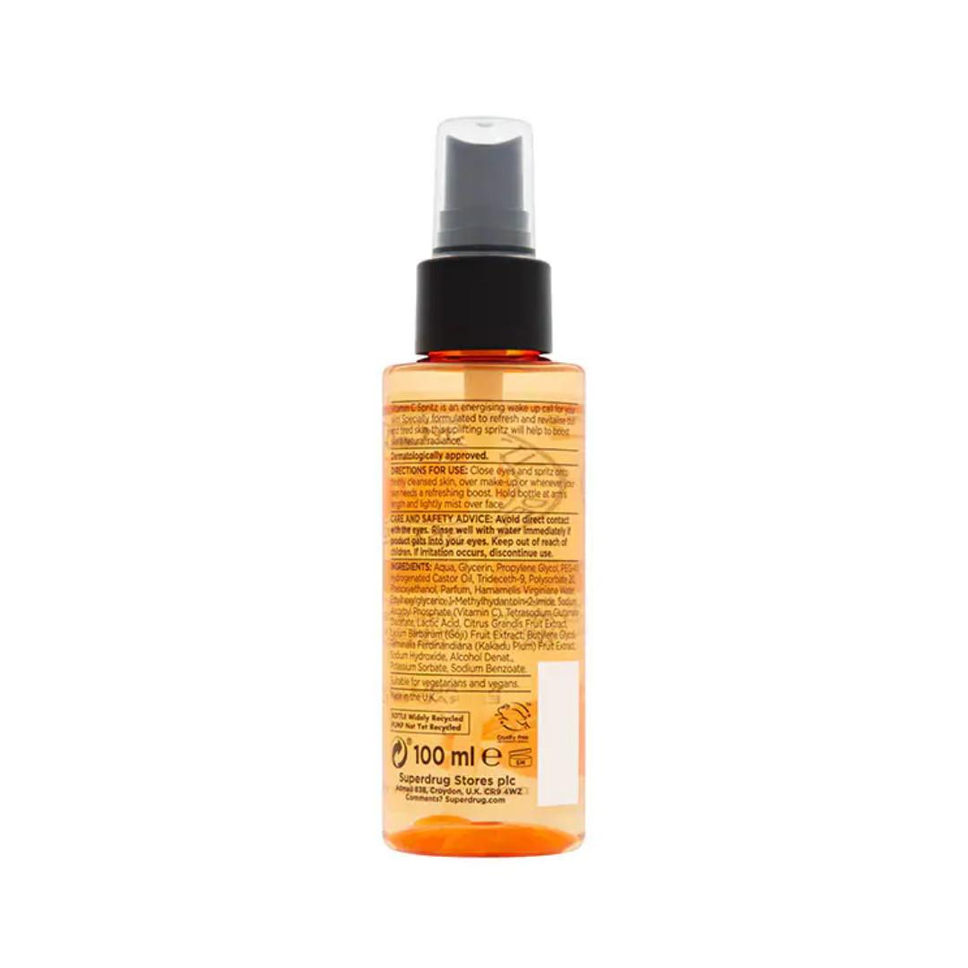 Nước hoa hồng dạng xịt dưỡng sáng da, mờ thâm Superdrug Vitamin C Energising Facial Spritz 100ml