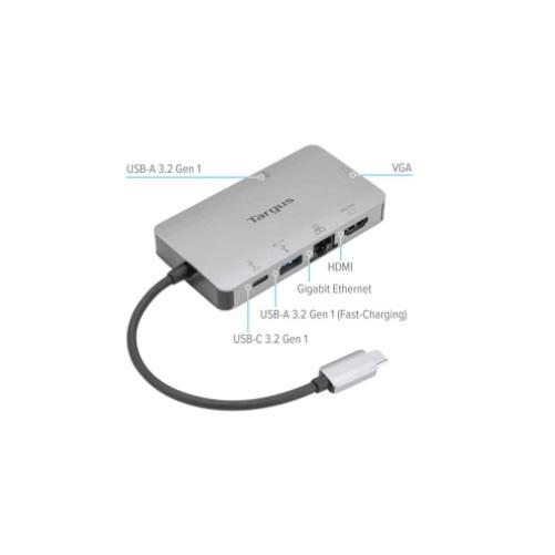 Hub chuyển đổi Type C Targus 6 in 1 ( USB 3.2 Gen1 x 2 + HDMI 4K,30Hz + VGA + Type C PD + LAN RJ45 ) - Hàng chính hãng