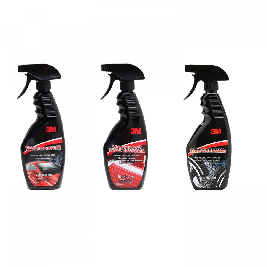 Combo 3 chai xịt bảo dưỡng nội thất 39040LT, bảo dưỡng lốp 39042LT và tăng độ bóng sơn 39034LT 3M