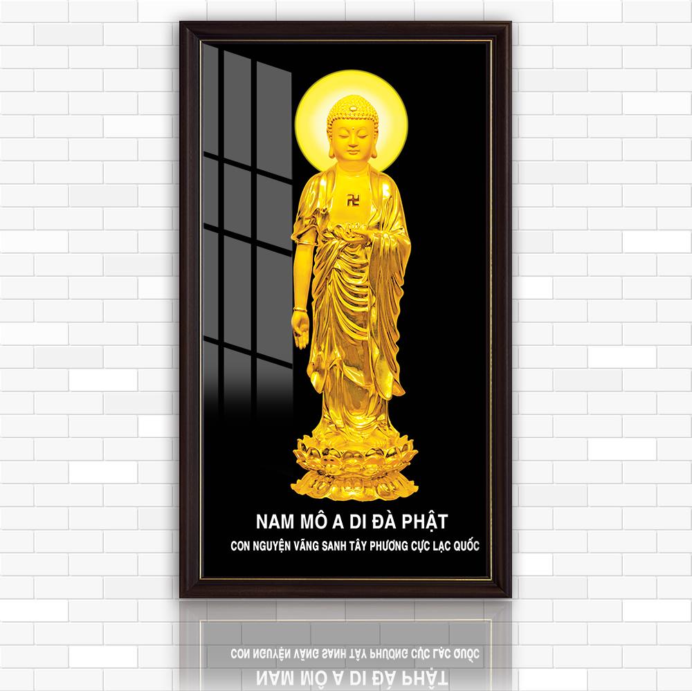 Tranh điện Phật A Di Đà Nhiều mẫu thiết kế, kích thước 40 cm x 80 cm  , in trên kính cường lực cao cấp