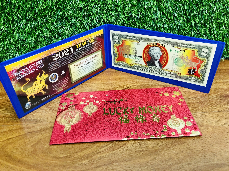 [CHUẨN MỸ] Tiền 2 USD Hình Con Trâu Mạ Vàng 2021 - chuẩn đồ Mỹ - số seri có cặp 88