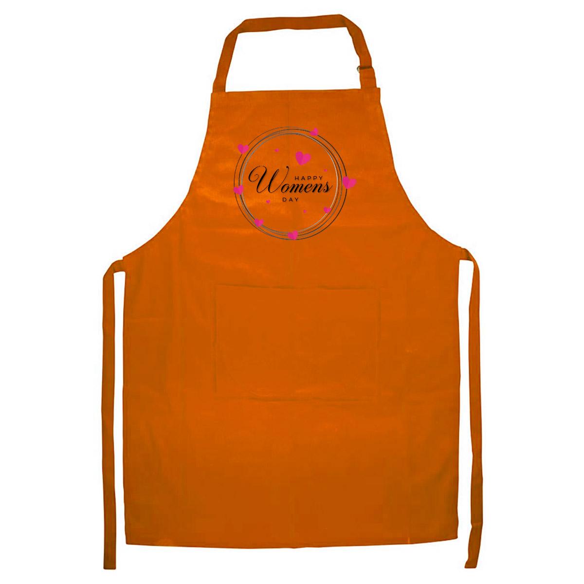 Tạp Dề Làm Bếp In Hình Happy women day - ACVDA006 – Màu Cam