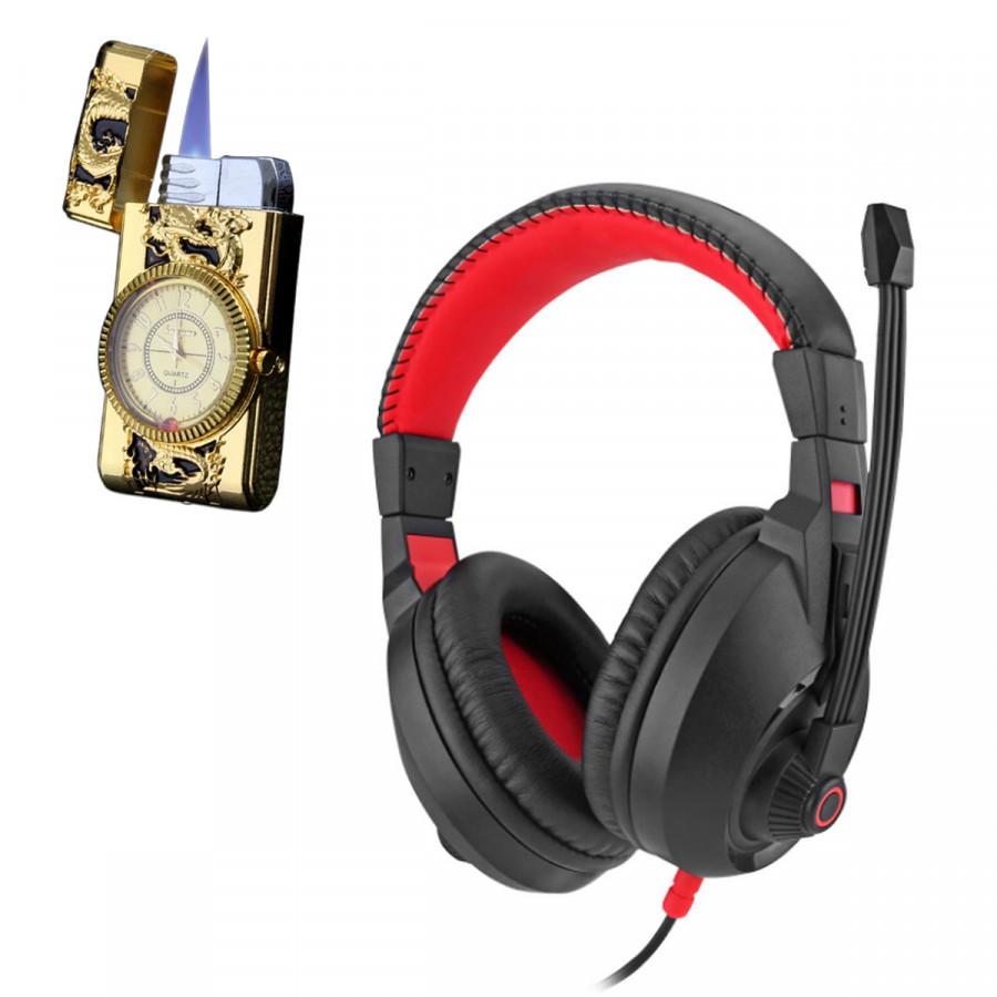 Tai nghe chụp tai CT-800 kèm mic đàm thoại dành cho Game thủ chống nhiễu, chống ồn tốt + Tặng hộp quẹt bật lửa khò kiêm đồng hồ cao cấp (màu ngẫu nhiên)