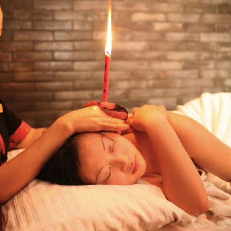 2PCS Natural Ear Candling Therapy Straight Ear Care & Ear Candle Coffee - Rose Red