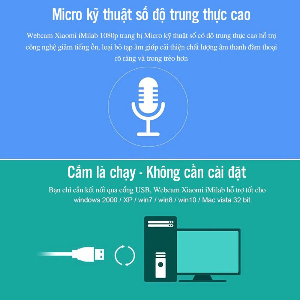 Webcam full HD 1080p Xiaomi IMILAB góc rộng 90 độ, tích hợp micro giảm ồn - Hàng Nhập Khẩu
