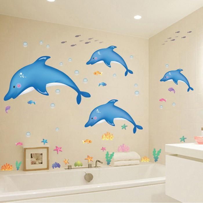 Decal dán tường gia đình cá heo vui nhộn cho bé AY8168