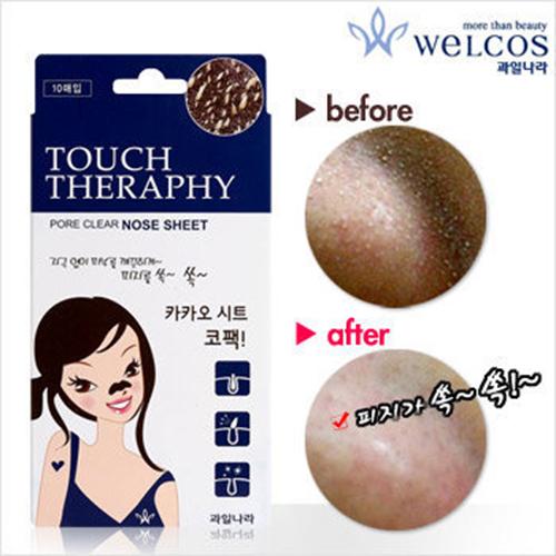 Hộp 10 miếng lột mụn mũi Touch Therapy Cacao pure Clear Nose pack tặng kèm móc khóa
