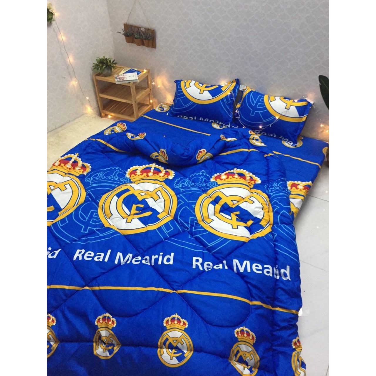 Trọn Bộ Chăn Ga Gối Poly Cotton TM007 - Chăn Chần Phao 5 Món - CLB Real Madrid