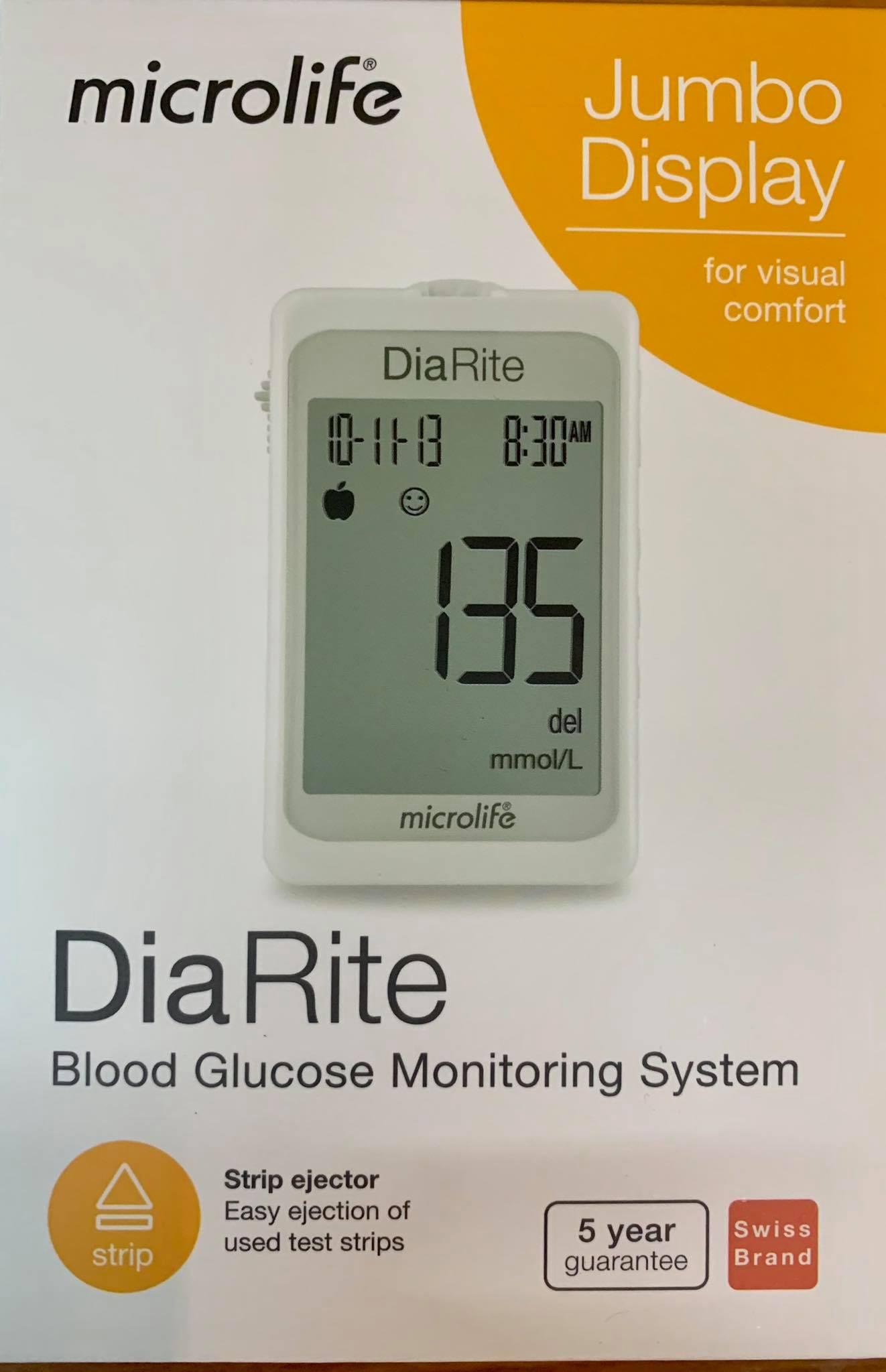 Máy đo đường huyết Microlife DiaRite BGM (Kèm Hộp/50 que thử)