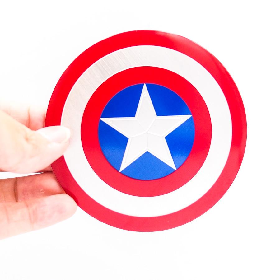 Sticker hình dán metal kim loại - Khiên ngôi sao Captain America 7.5cm