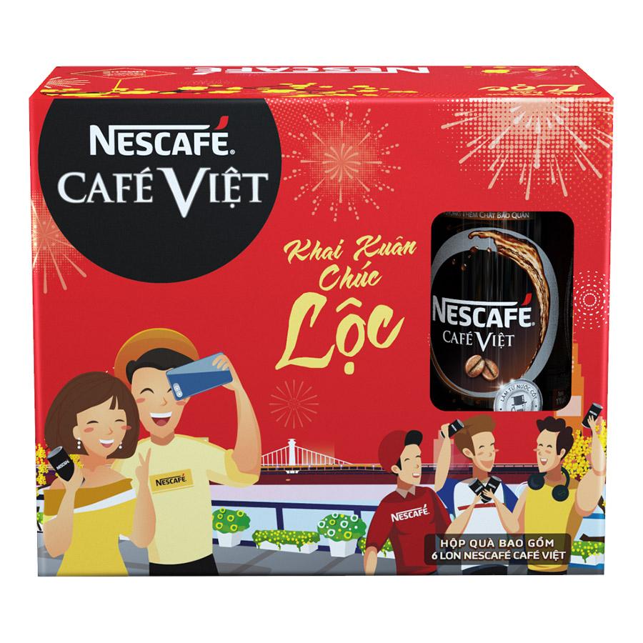 Hộp Quà Tết Cà phê đen uống liền NESCAFÉ CAFÉ VIỆT Hộp 6 lon x 170 ml