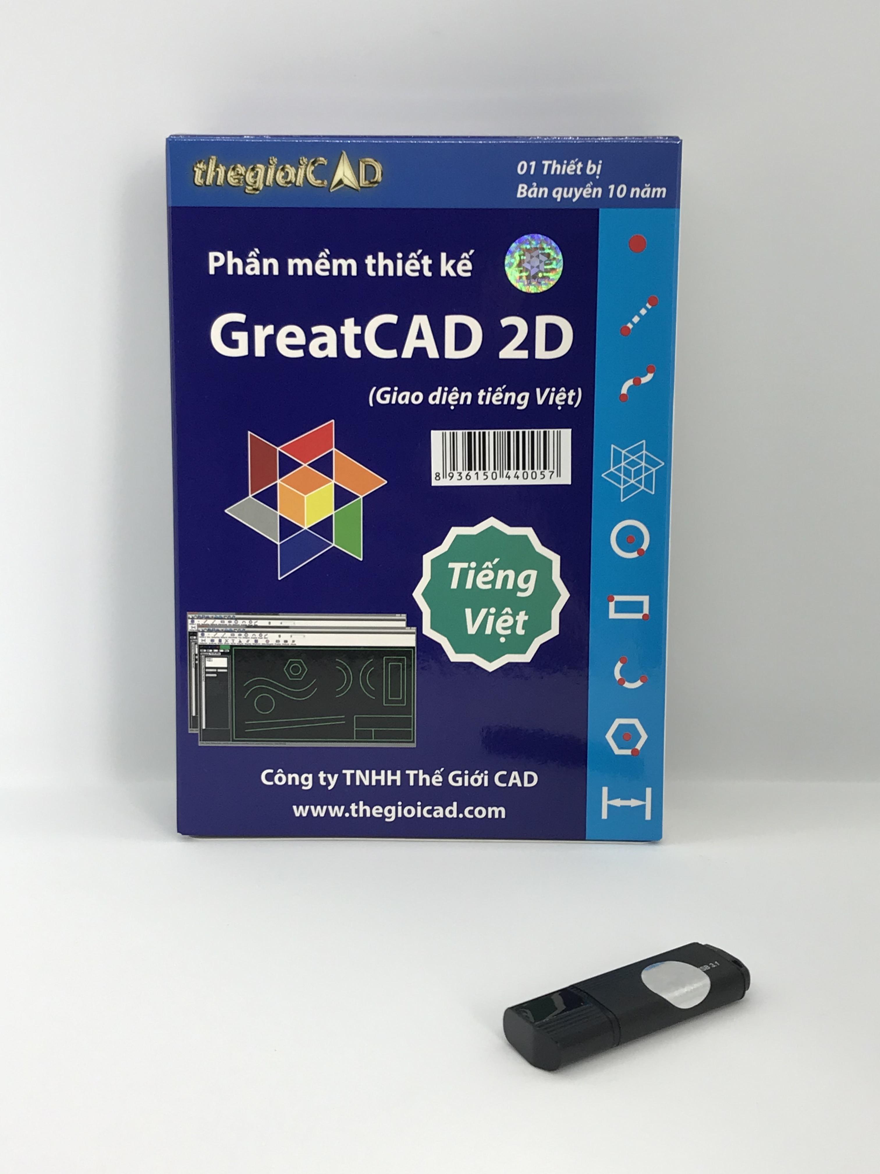 Phần mềm thiết kế GreatCAD 2D phiên bản tiêu chuẩn – Giao diện tiếng Việt (USB/2020) - Hàng chính hãng