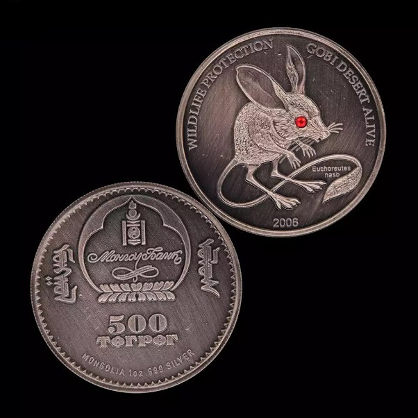 Đồng xu con chuột của Mông Cổ giả cổ bạc, đường kính 40mm, nặng 28gr  độc đáo mới lạ thích hợp trưng bày trong nhà hoặc biếu tặng trong dịp tết Canh tý 2020 - TMT Collection - MS 249