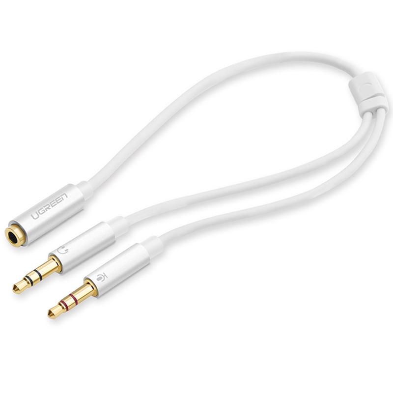 Dây Audio chuyển tai nghe 3.5mm sang 2 đầu Mic và Tai nghe đầu mạ vàng dài 20CM UGREEN AV140 10790 - Hàng chính hãng