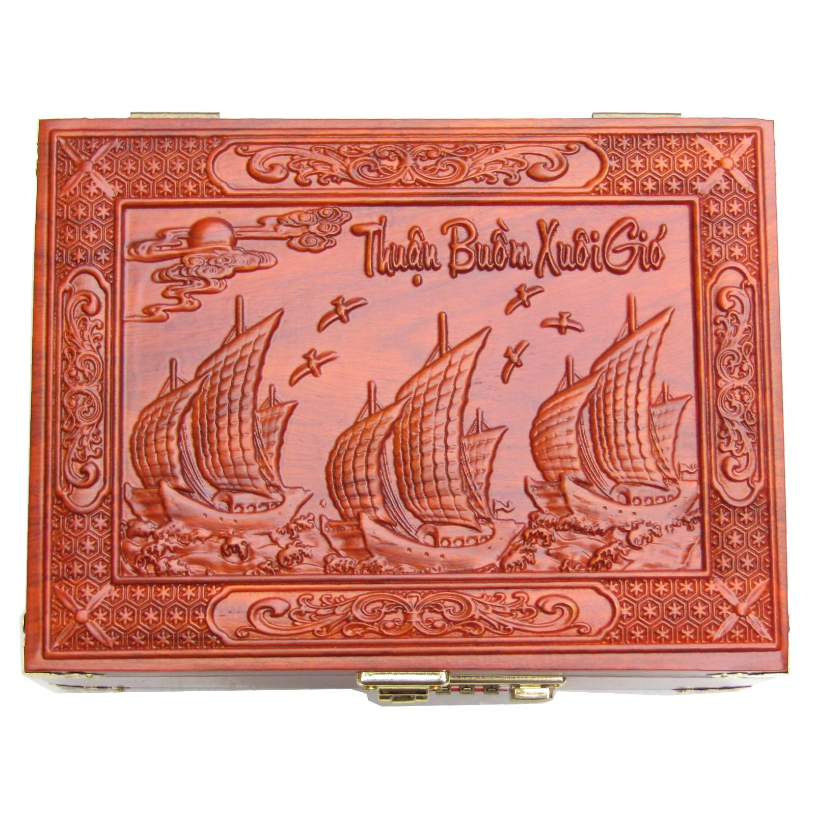 Hộp Đựng Trang Sức, Con Dấu Chạm Thuận Buồm Xuôi Gió Gỗ Hương Loại To MK01 ( 24 x18 x10 cm )